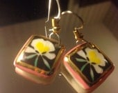 Orchid Flower Square Ceramic Gold Enamel Dangle Earrings | 80s Vintage