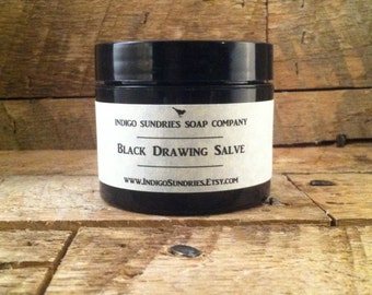 All Natural Black Drawing Salve with Activated Charcoal // Splinters Boils Acne Infection // Calendula Comfrey Honey Lavender