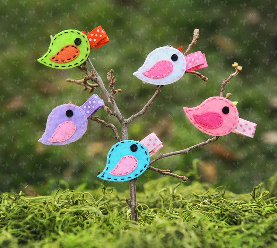 Shaby Chic Small Felt Birdy Tweet Tweet Hair Clips Set