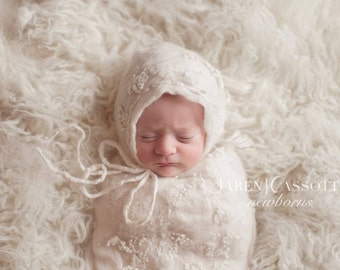3 piece set, bonnet with removable tieback and swaddle bag, very unique hand felted design