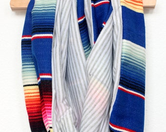 Cobalt Traditional Mexican Serape and Gray White Micro Stripe Knit Infinity Circle Scarf