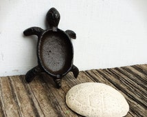 BOLD tiny turtle linen ivory white & chocolate brown TRINKET box // cast iron // funky modern // shabby chic // hand painted