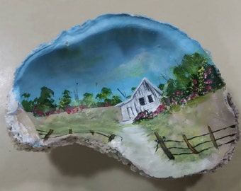 Hand painted Oyster Shell featuring an  old house scene
