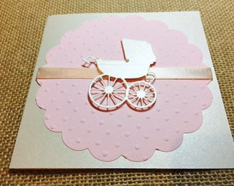 Customize Any Color, 10 Baby Carriage Baby Shower Invitation, Thank You, or New Baby Announcement Cards, Baby Girl Pink