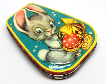 Vintage Easter Candy Tin*Made in England by George Horner and Company*Rabbit with Easter Basket