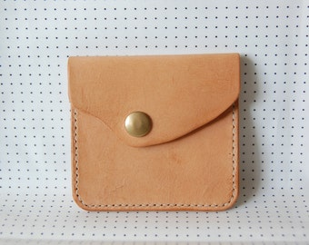 Fit for your finger - Natural Colour Leather Coins Bag, Card Wallet w/ Brass Snap Button
