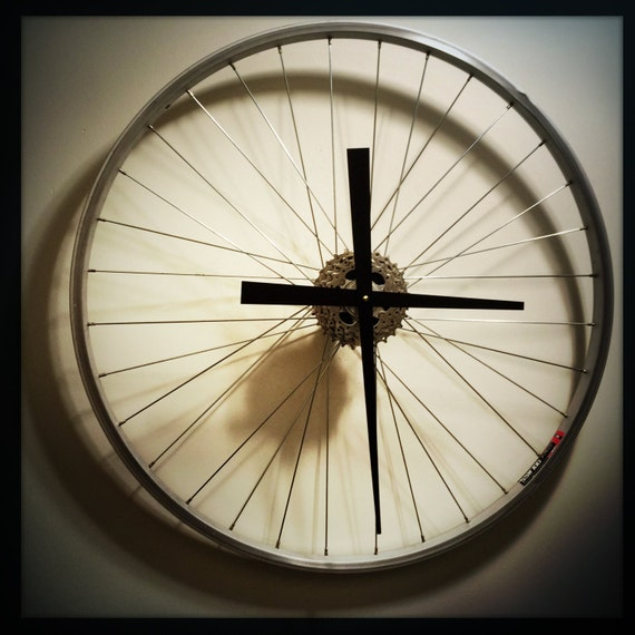 Bicycle Wheel Clock Wall Clock Bicycle Wall by ...