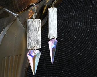 Crystal arrowhead fine silver earrings