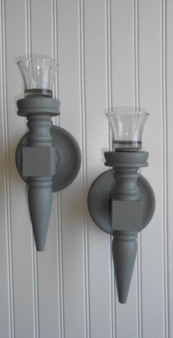 Grey Candle Sconce Pair Farmhouse Candle Sconce Set