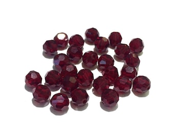 12 Swarovski 6mm 5000 Crystals, Siam, Round Beads
