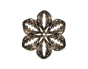 2 Filigree Flower, Antique Gold Filigree, Stamping, 43 mm