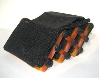 1940s vintage bakelite and black beaded hinged evening bag- 1940s bakelite handbag - beaded bakelite purse - bakelite bag - 40s beaded purse