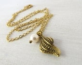 Gold Sea Shell Necklace - Cream Pearl - Antique Gold plated Jewelry - Small Charm Necklace - Elegant Sea Shell Necklace