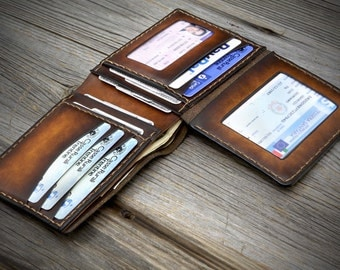 02 Full Grain Wallet for men. Vegetable Tanned Italian leather Wallet. Attractive and strong Leather Wallet with ID window.