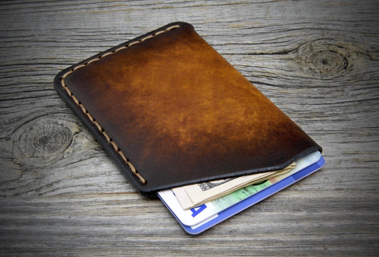 Minimal leather card holder ultra thin cards case genuine for Bj custom designs