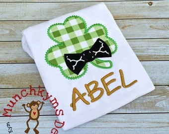 St Patrick's Day Clover with Bow Tie - Custom monogram - Infants to Adults