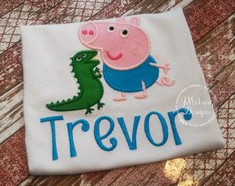 Peppa George Birthday Custom Tee Shirt - Customizable -  Infant to Youth 337