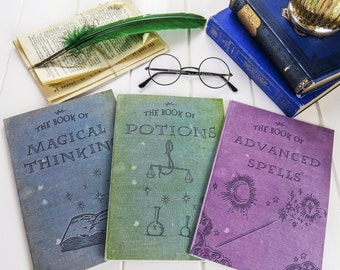 Magic Notebooks - Set of Three Spells, Potions, Magical A5 Notebooks - Witches & Wizards - Stationery - Geek Gift  - Harry Potter