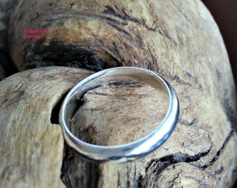 Sterling Silver Men Ring, Plain Wedding Band, Boyfriend Gift, Wedding band