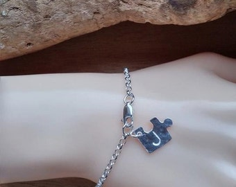 Jigsaw Charm Silver Bracelet Dainty Silver Bracelet Personalised Silver Bracelet