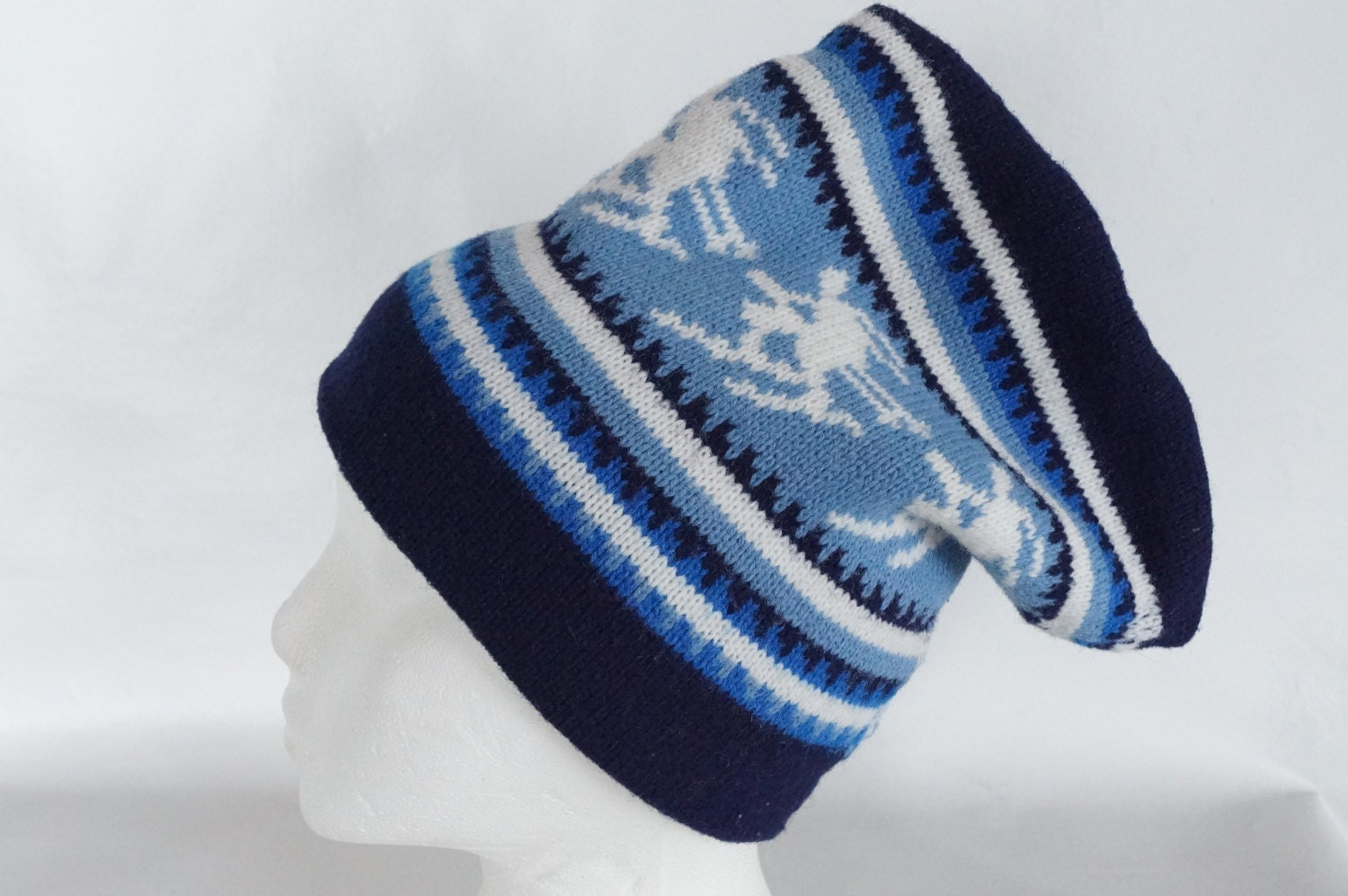 7437017f59a Vintage Blue Downhill SKIER Ski Hat Navy White Retro – Haute Juice
