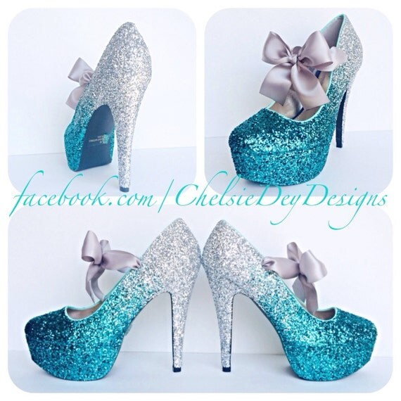Teal Glitter High Heels Silver Turquoise Blue Ombre Fade by