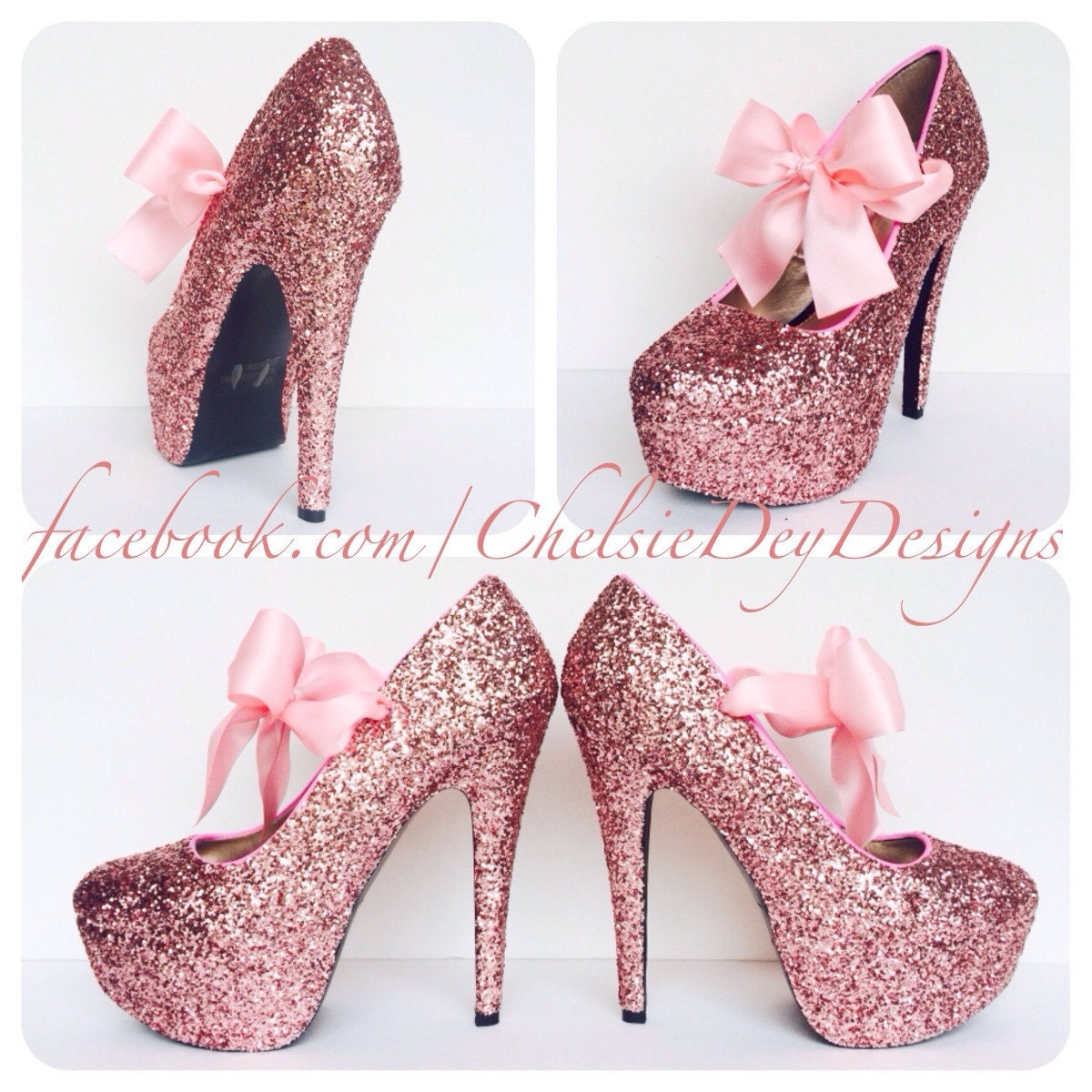 Glitter High Heels Pink Pumps Bubblegum Light Pink by