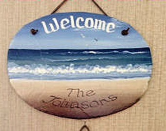 Handpainted Personalized Waves and Sand Slate Welcome Sign Oval
