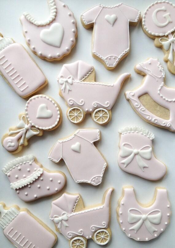 Gold and Pink Baby Shower Cookies 1 Dozen  |Best Baby Shower Cookies