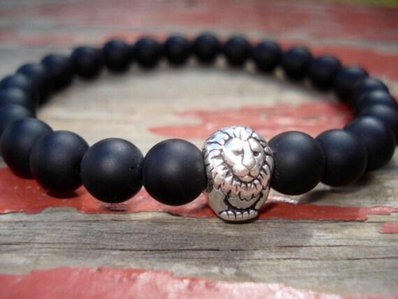 Black Onyx Bracelet, Lion Bracelet, Animal Bracelet, Beaded Bracelet, Men Jewelry, Bracelet Men, Women's Bracelet, Stretch Bracelet