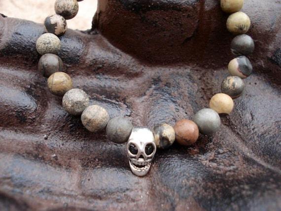 Skull Bracelet, Beaded Stretch Bracelet, Mens Bracelet, Mens Jewelry, Gemstone Bracelet, Goth Bracelet, Steampunk Bracelet, Boho Bracelet