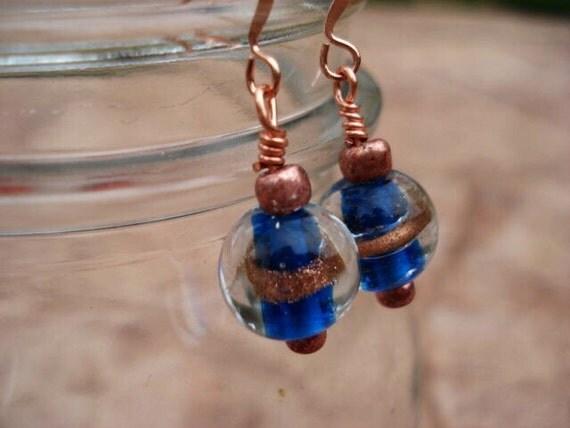 Copper Glass Earrings, Teal Blue Earrings, Lampwork Bead Earrings, Lampwork Earrings, Dangle Drop Earrings, Boho Modern Minimalist Earrings