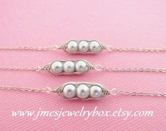 Three peas in a pod best friend bracelet set - Grey