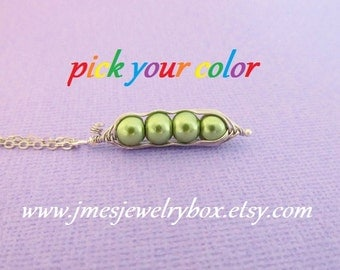 Four peas in a pod necklace - Choose your color! Made to order