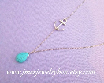 Silver anchor necklace with turquoise drop
