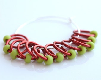 Snagless - Dangle and Snag Free - Red Green Chartreuse - Stitch Markers - Ideal For Lace and Sock Knitting