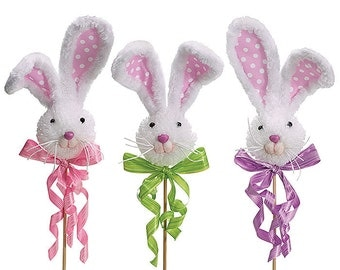 BUNNY Head PICK Foam w/ ribbon bows ,pink noses & whiskers Spring Decor Supply FuN Addition in WREATHS Arrangements -Easter Egg Tree - craft