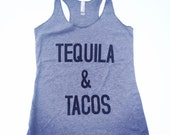 Tequila and Tacos Tank, Racerback, Tank Top, Tri Blend Level Apparel, taco, alcohol, vegan, vacation tank top, beach tank top, fitness tank
