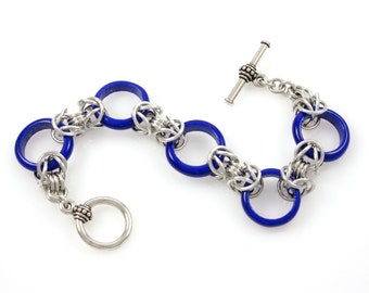 Cobalt Blue Glass Ring Bracelet