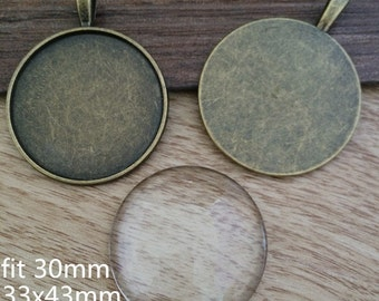 5set 30mm Bronze Round Cameo Setting with glass F513