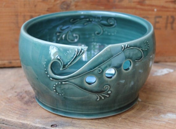 Crochet Yarn Bowl : Yarn Bowl Crochet Knitting Deep Green by DandelionPottery on Etsy