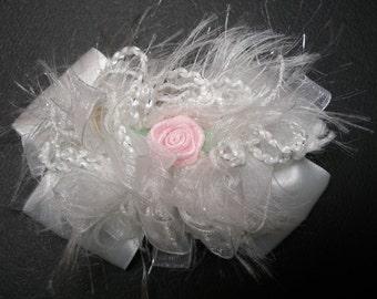 4 inch Off White Satin and Glitz White Organza Unique Elegant Baptism Wedding Flower Girl Glitz Pageant Confirmation Dressy Fancy