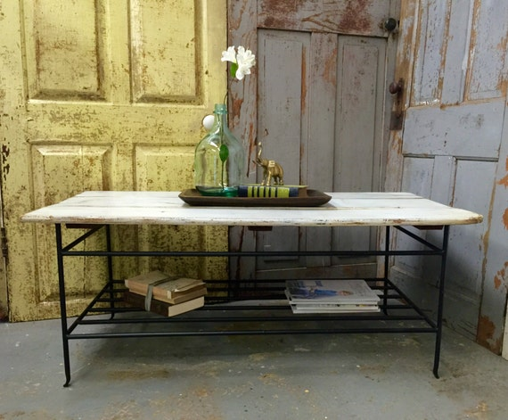 Rustic wood coffee table beach cottage decor two tier table for Rustic coastal coffee table