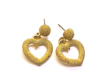 Heart Earrings Textured Gold Tone Dangle Door Knocker Posts