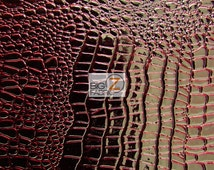 Vinyl Faux Fake Leather Pleather Embossed Shiny Amazon Crocodile Fabric - DARK RED - By The Yard Upholstery Purses Shoes Wallets Belts