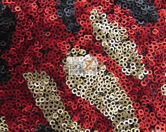 "Abstract Sequins Nylon Mesh Fabric - BLACK/RED/GOLD - 52""/54"" Width Sold By The Yard"