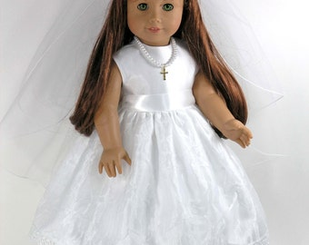 Handmade 18 inch Clothes fit American Girl - First Communion Doll Dress, Cross Necklace, Veil, Pantalettes - Organza Satin