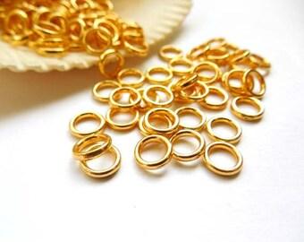 50/100 Gold Plated Jump Rings 6mm, Closed Loop - 8-9