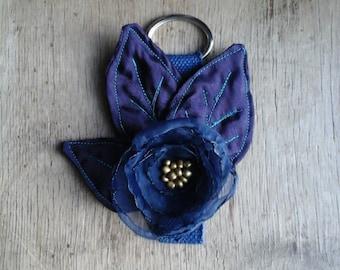 Handmade Fabric Flower Key Chain Keychain Floral Bag Charm Bridesmaid Gift Idea Blue Valentine One Of A Kind OOAK Bag Accessory