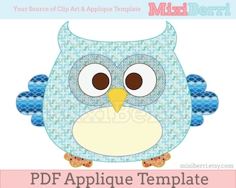 Chubby Owl Applique Template PDF Instant Download